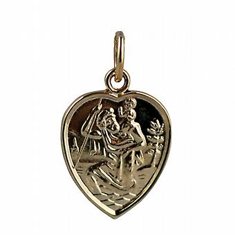 9ct Gold 15x13mm heart St Christopher Pendant