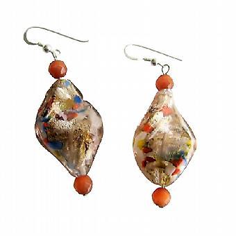 Twisted Filled Glass Beads w/ Cat Eye Bead Sterling Silver Earrings
