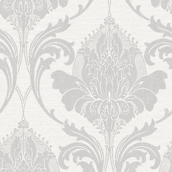 Damast-Tapete moderne Bettwäsche Metallglanz Effekt 2 Farben Zahra Krone