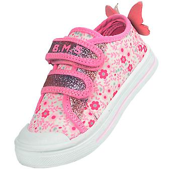 Girls pink and white sparkly butterfly trainers