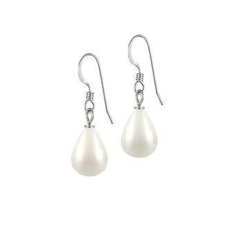 Eternal Collection Raindrop Mini White Shell Pearl Silver Tone Drop Pierced Earrings