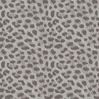 Fine Decor Animal Print Snow Leopard Fur Effect Wallpaper Silver Grey Metallic