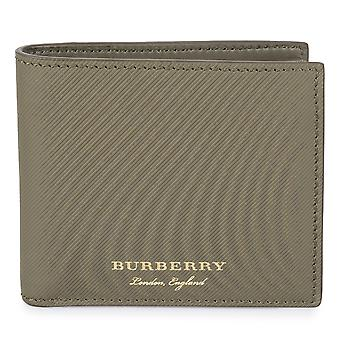 Burberry Trench zielone prążki skórzane Hipfold portfel