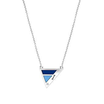 Kansas City Royals Engraved Sterling Silver Diamond Geometric Necklace In Blue & Sky Blue