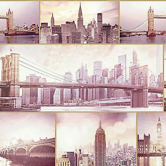 London New York City Scene Landscape Wallpaper Glitter Blush Pink Vinyl Arthouse