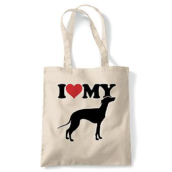 I Love My Greyhound Tote | Dog Gift Fur Baby Lover Owner Mans Best Friend | Reusable Shopping Cotton Canvas Long Handled Natural Shopper Eco-Friendly Fashion