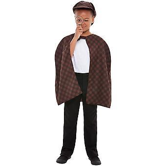 Etsivä Sherlock lasten puku setti Unisex karnevaali yksityinen Sniffer viitta hattu suurennus lasi