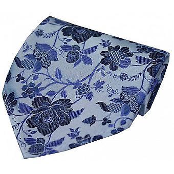 David Van Hagen blomst mønster silke tørklæde - himmelblå