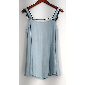 Kate & Mallory Top Sleeveless Pointed Hemline w/ Black Cord Blue A433240