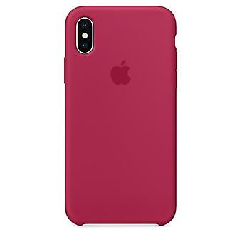 Original Packed MQT82ZM/A Apple Silicone Microfiber Cover Case for iPhone X - Rose Red