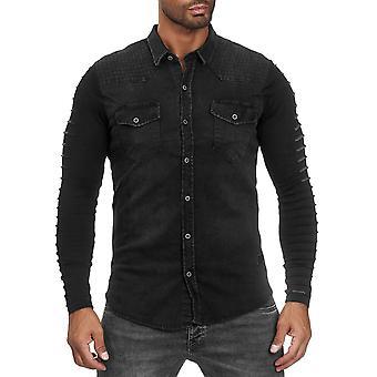 Mens skjorte jeans se stoff Mix langermet spraglete overgang Jacket biker Polo
