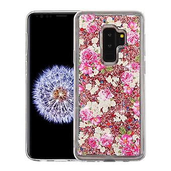 European Rose et Rose Gold Quicksand Glitter Hybrid Case pour Galaxy S9 Plus