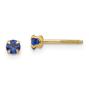 14k Yellow Gold Polished Simulated Screw back Post Earrings 3mm Synthetic Blue Spinel for boys or girls Earrings Measure
