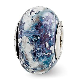 925 Sterling Silber poliert Reflexionen blau grau weiß Keramik Perle Anhänger Anhänger Halskette Schmuck Geschenke für Frauen