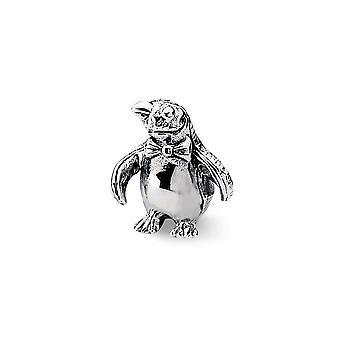 925 Sterling Silver Polerade reflektioner Pingvin Pärla Charm Hänge Halsband Smycken Gåvor för Kvinnor