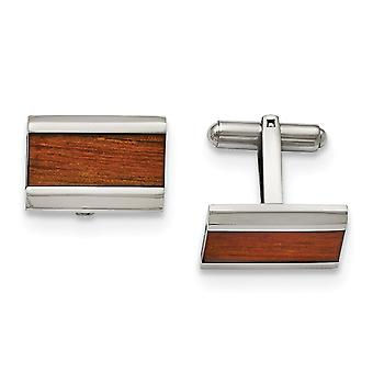 Stainless Steel Polished Red Orange Wood Inlay Cuff Links Jewelry Gifts for Men