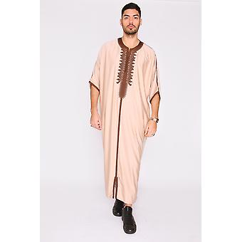 Gandoura hamza embroidered short sleeve men's long robe thobe in beige