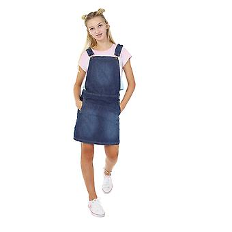 Georgia corto in denim pinafore abito stonewash