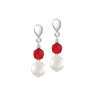 Eternal Collection Romanza Shell Pearl And Red Crystal Silver Tone Drop Screw Back Clip On Earrings