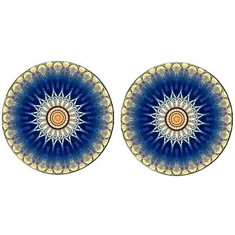 Bassin and Brown Flower Spray Cufflinks - Blue/White