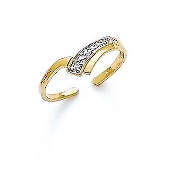 14k Yellow Gold Diamond V Shape Toe Ring Jewelry Gifts for Women - .01 dwt