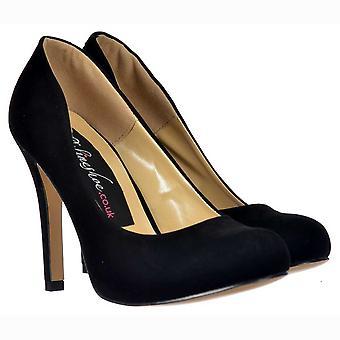 Onlineshoe Black Suede Mid Heel Stiletto Court Shoe - Black Suede