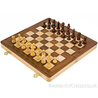10 Inch White Wood Folding Chess Set with Staunton Style Pieces