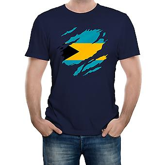 Reality glitch torn bahamas flag mens t-shirt