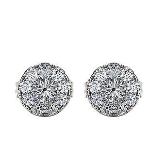 Igi sertifioitu luonnollinen 925 sterlinghopea 0,25 ct timantti ympyrä stud korvakorut