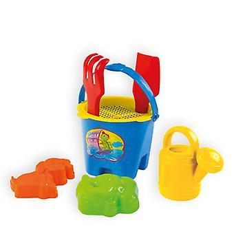 Mochtoys sand leksaker 5002 skopor, sand formar, räfsa, spade, vattning kan, SIL