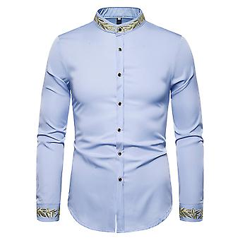 Allthemen Men's Casual Fashion Embroidered Covered Stand-up Collar Long-Sleeve Shirt