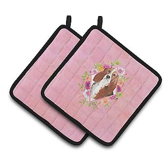 Carolines Treasures  CK4266PTHD Basset Hound Pink Flowers Pair of Pot Holders