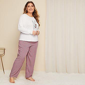 Plus hand & striped print pajama set