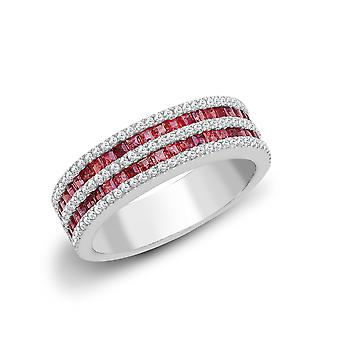 Jewelco London 18ct White Gold Channel Set 0.35ct Diamond and Princess Red 0.95ct Ruby Double Decker Eternity Ring 6mm
