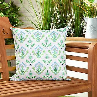 Lime Floral wasserdichte Leinwand Outdoor Scatter Garten gefüllt Kissen gedruckt