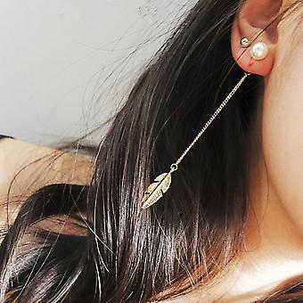 Długie kolczyki Drop Leaf - Złoto i perła