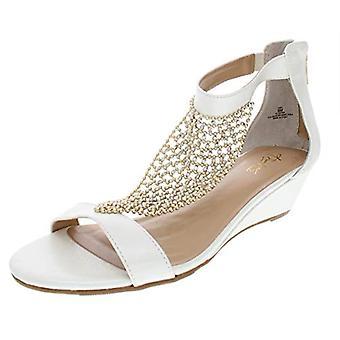 Thalia Sodi Femme Tibby Soirée T-Strap Wedge Sandals Blanc 5 Medium (B,M)
