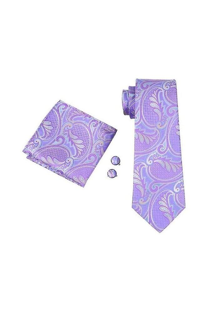 JSS Purple Paisley Patterned Pocket Square, Cufflink And Tie Set