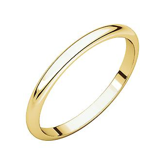 14k Yellow Gold 2mm Half Round Band Ring - Ring Size: 2 to 14