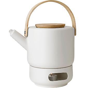 Stelton Theo Set Teekanne 1,25 Liter und Stövchen aus Steingut sand / beige