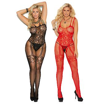 Mujeres Bodystocking Set- Sexy Shredded Correa Fishnet y Encaje Open Crotch Bodysuit Paquete de Lencería de 2
