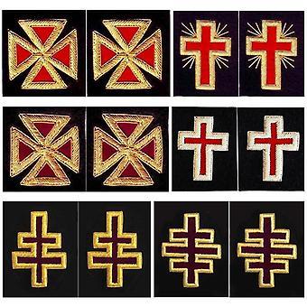 Caballeros cruces de manga templario - bordado de lingotes