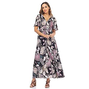 Long dress printed peacock with buttons, v-neck and short sleeve