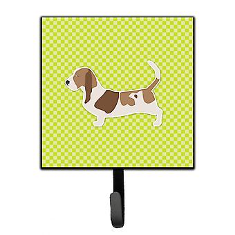 Basset Hound Checkerboard Green Leash or Key Holder