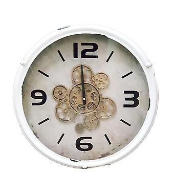 Round 49cm Henri moving cogs wall clock - white
