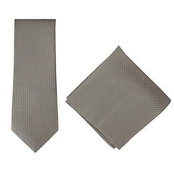 Michelsons di Londra ha strutturato l'insieme quadrato cravatta di seta di Geo e Pocket - Taupe