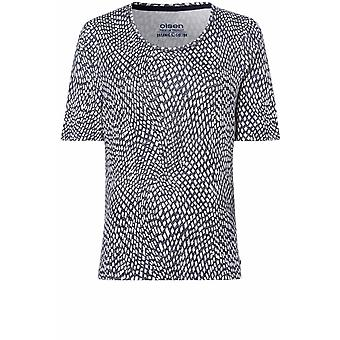 Olsen Navy Abstract Square Print T-Shirt