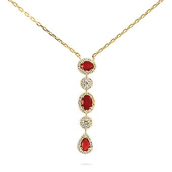 Necklace Merveille Precious Stone, 18K Gold and Diamonds - Ruby | Emerald | Sapphire - Yellow Gold, Ruby