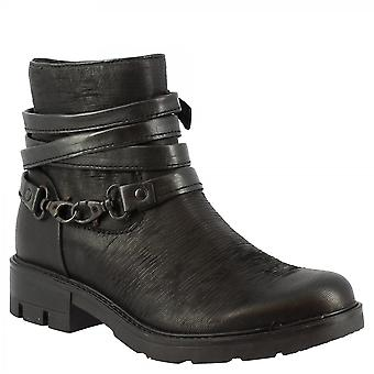 Leonardo Shoes Women's handmade ankle boots black calf leather side zip closure