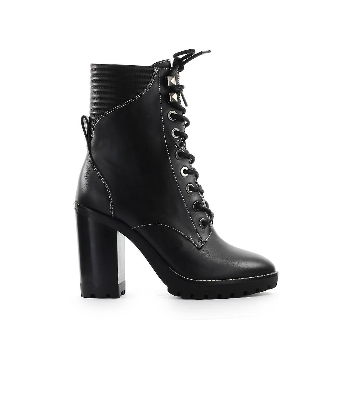 MICHAEL KORS BASTIAN BLACK HEELED COMBAT BOOT DaBhv